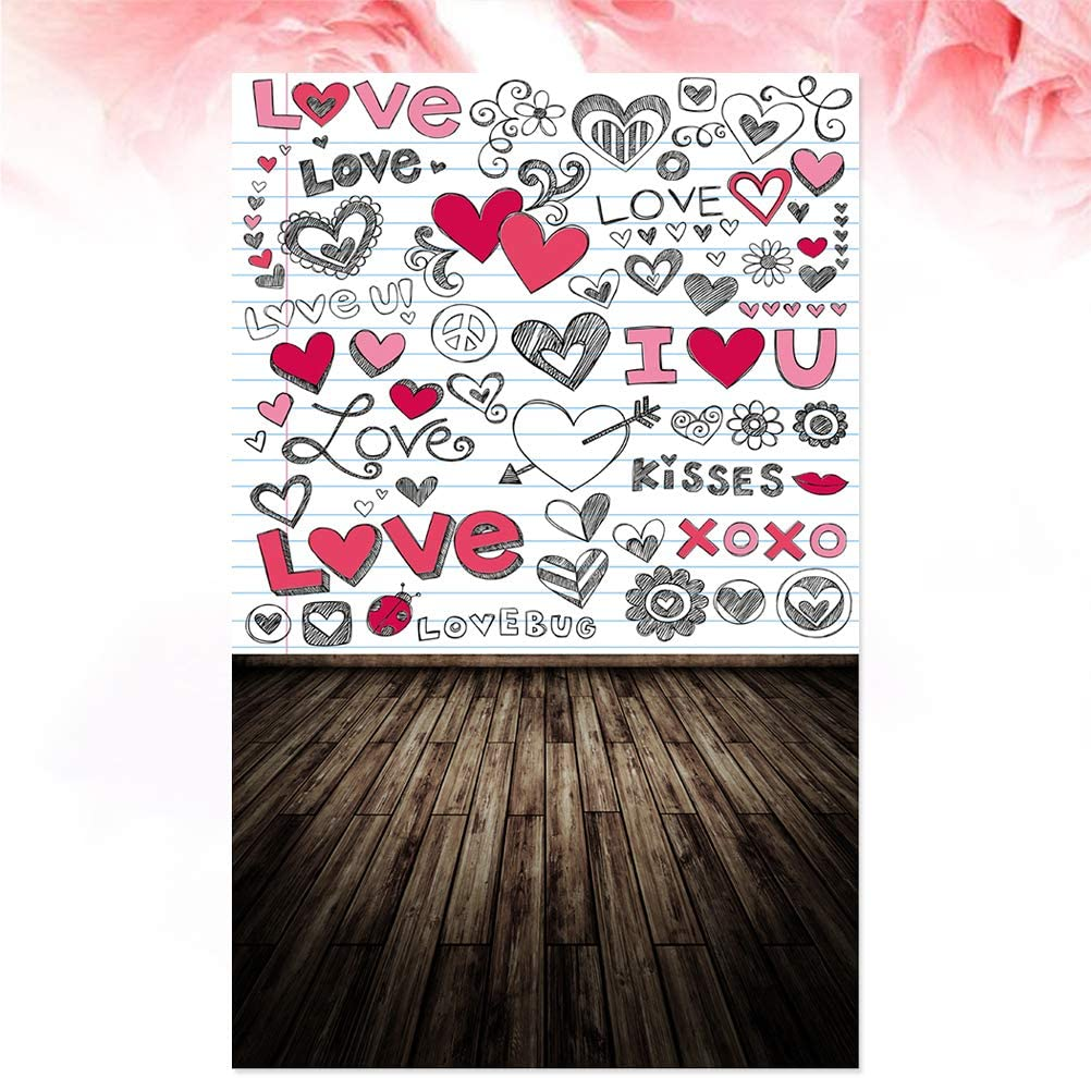 913 90x150cm Photo Background Party Backdrop Valentines Day Love Heart Print Photography Backdrop