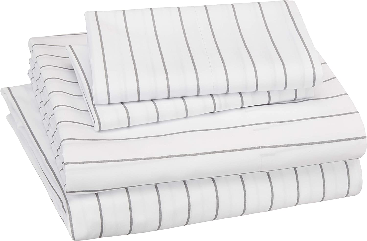 AmazonBasics Soft Microfiber Sheet Set with Elastic Pockets - Queen, Grey Pinstripe