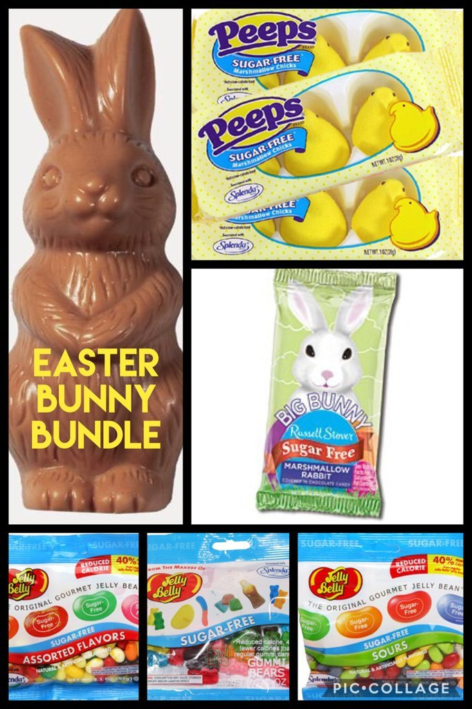 Sugar Free Diabetic Candy Easter Bunny bundle all beautifully wrapped and ready to give for Easter