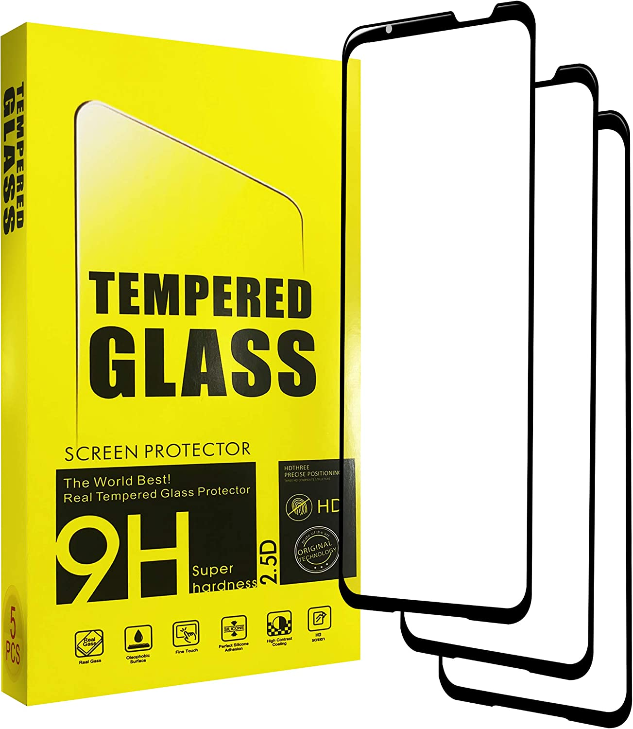 """Asus ROG Phone 5 Screen Protector(5 PACK), Tempered Glass 9H high hardness, Full Coverage HD Anti-Scratch Anti-Fingerprint Clear Tempered Glass Protective Film Compatible with Asus ROG Phone ZS673KS 6.78"""""""