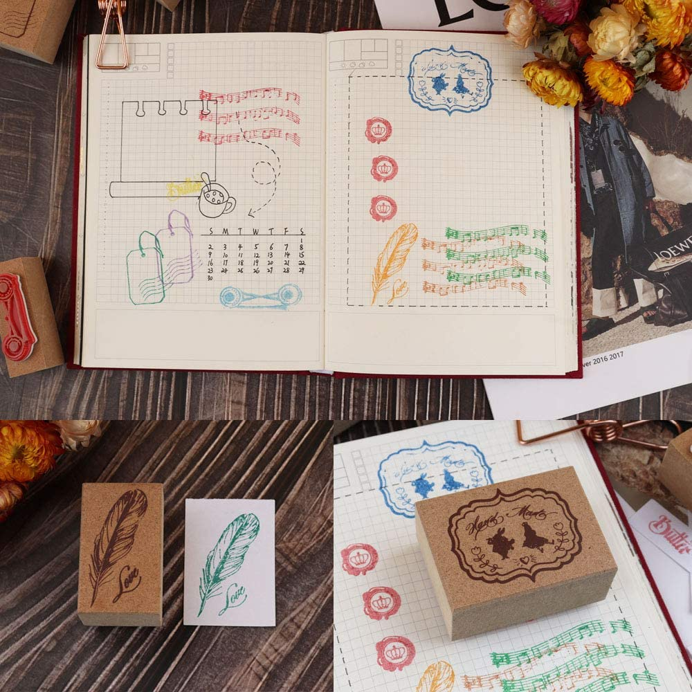 Dizdkizd 9 Pieces Wooden Rubber Stamps Letters Diary and Craft Scrapbooking Number 1-9 Decorative Multipurpose Wood Mounted Rubber Stamp Set for DIY Craft