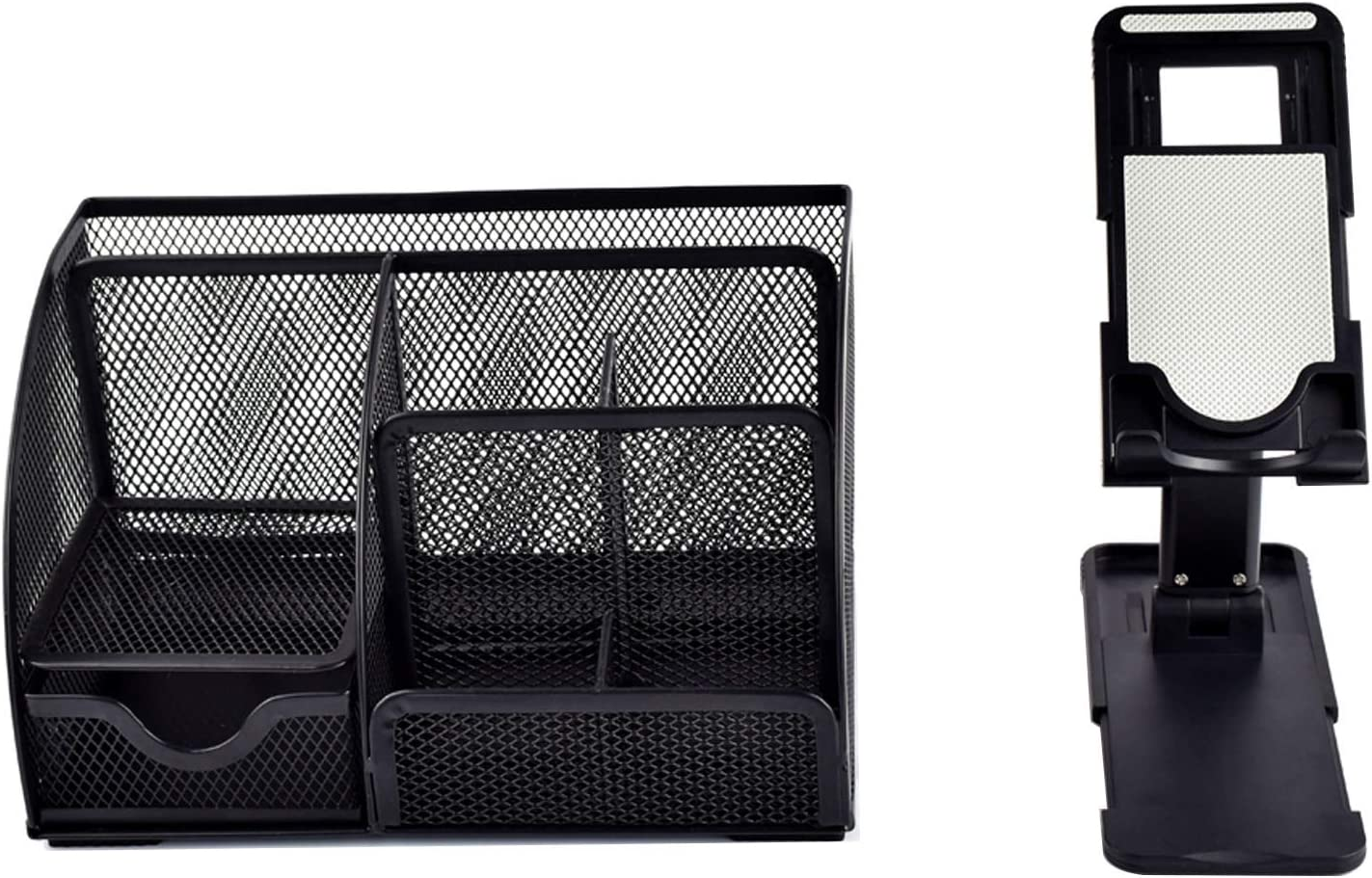 "Office Mesh Desk Organizer With Drawer + Fully Foldable Compact iPad iPhone Holder Adjustable Cell Phone Stand For Desk Compatiable With 4""-12.9"""