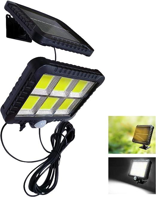 VARICART Solar 12W 120 LED Luz de Pared Separable, Exterior Impermeable Panel Desmontable con Sensor Movimiento de Seguridad PIR, 3 Modo de Iluminación para Jardín Garaje Sótano Cobertizo (Pack de 1)