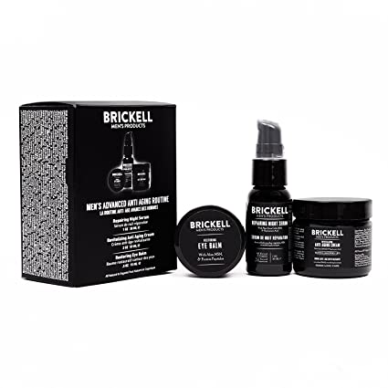 Brickell Mens Products – Rutina Antiedad avanzada – Crema facial de noche, Serum facial de