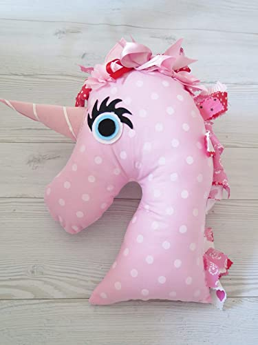 Amazon Com Handmade Plush Pink Polka Dot Doll Pillow Unicorn Baby