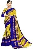 Vivan Trendz Women's Cotton Silk Saree (Navy Blue + Yellow)