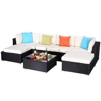 Do4U 3 12 Pieces PE Rattan Wicker Sofa Sectional Sofa Set Outdoor Patio  Furniture Set