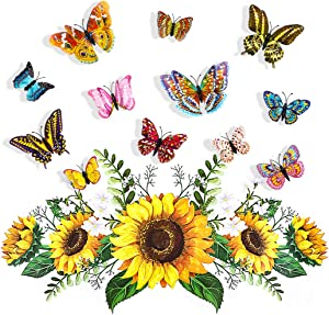 Outgeek 3D Butterfly Decor, Sunflowers Wall Sticker, 13Pcs Yellow Flower Floral Mural Decals Removable DIY Home Art Decorations for Kids Nursery Bedroom Living Room Cabinet Door