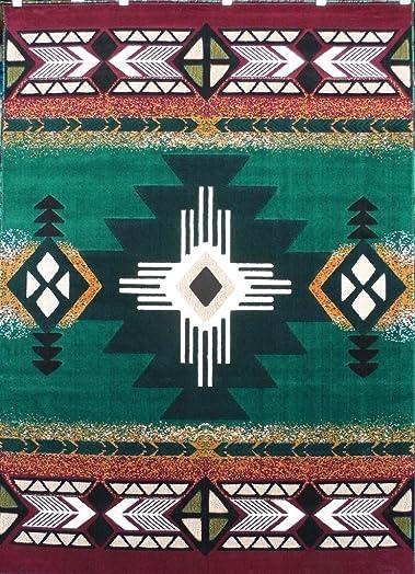 Concord Global Trading Southwest Native American Area Rug Design C318 Hunter Green 8 Feet X 10 Feet
