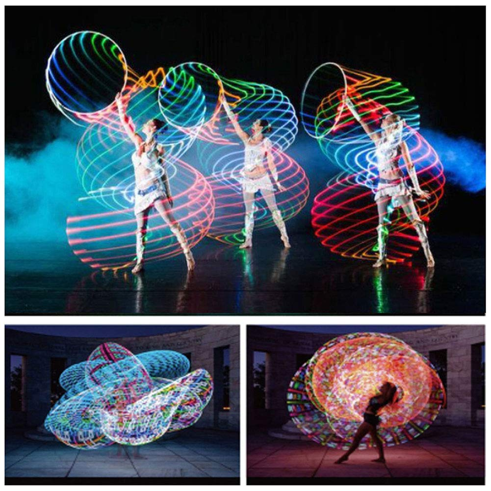 24 Color Strobing Changing LED Light Fitness Hoops Toy JINKAKA LED Hoop Dance /& Fitness Glow Weighted Light Up Hoola Hoops for Adults Kids