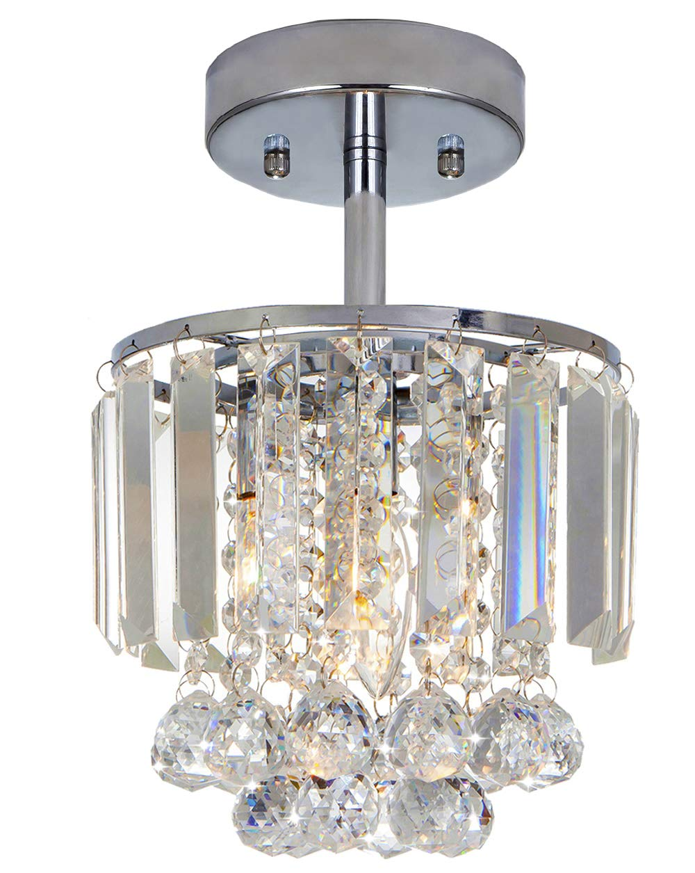Delica Home Modern 7.87'' Diameter Crystal Ceiling Light, Mini Ceiling Light for Foyers Closets Small Rooms Laundry Rooms, 1-Bulb Chandelier, 12''H