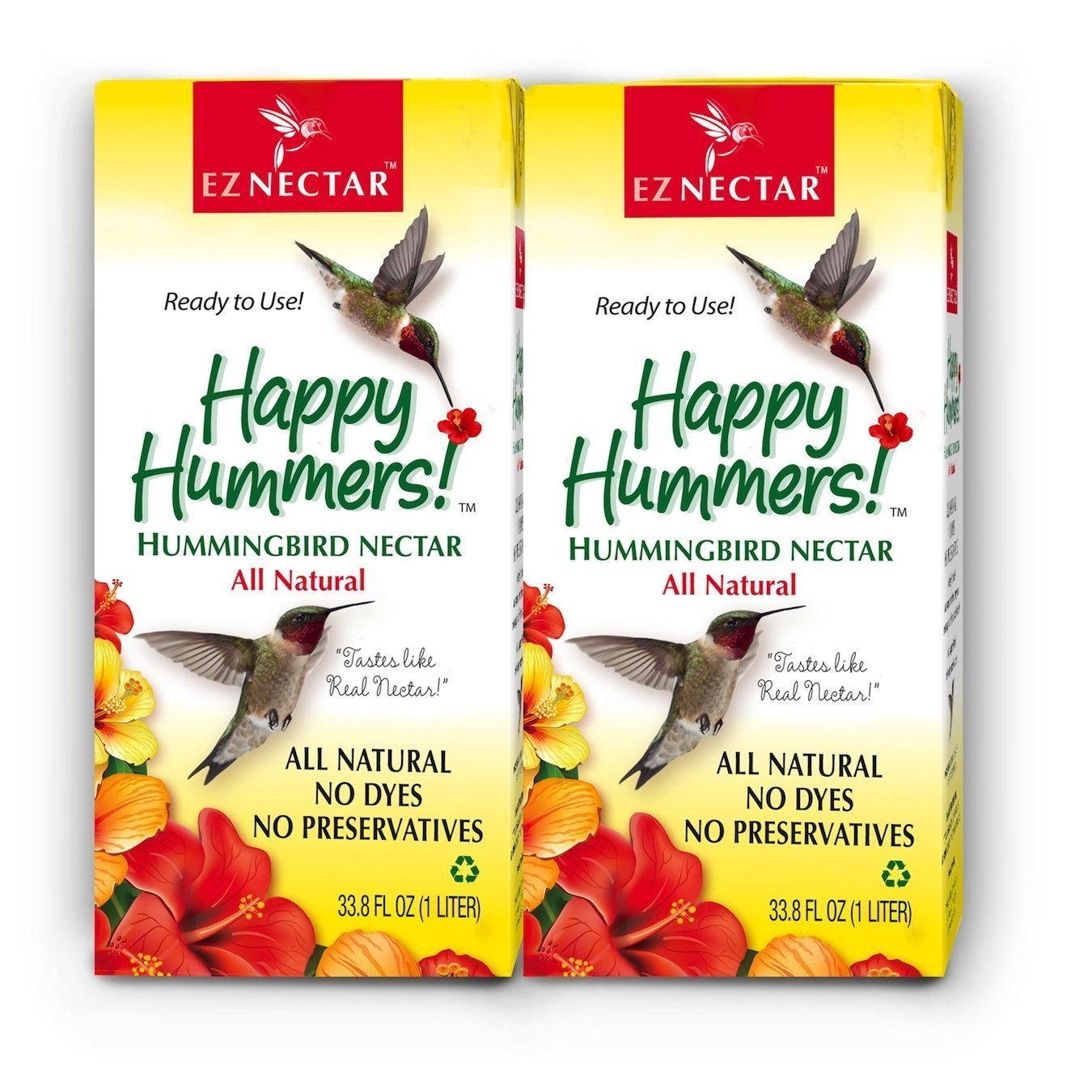 EZNectar (2 Piece) - 67.6 FL Ounce Total, All-Natural, Sugar & Water Only, Ready-to-Use Hummingbird Food - Nectar 864596000208