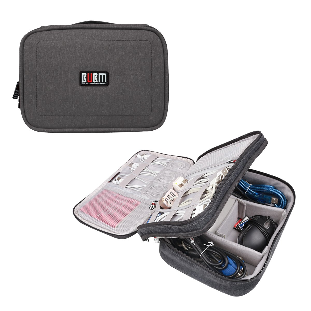 BUBM Double Layers Travel Universal Cable Organizer Electronics Accessories Bag for Cables,External Flash Drive,Mouse,Memory Card,Power Bank (Medium, Black)