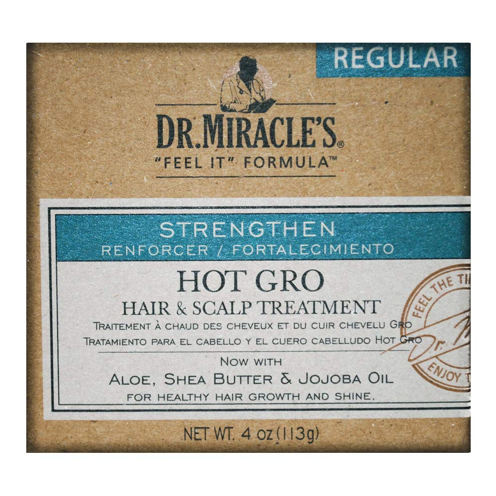 Dr. Miracle's Hot Gro Hair and Scalp Treatment - For Healthy Hair Growth & Shine, Contains Aloe, Shea Butter, & Jojoba Oil, Strengthens, Moisturizes & Conditions, 4 oz : Hair Regrowth Treatments : Beauty