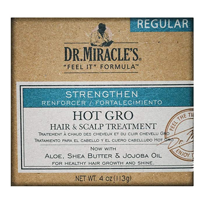 Dr. Miracle's Hot Gro Hair and Scalp Treatment - For Healthy Hair Growth & Shine, Contains Aloe, Shea Butter, & Jojoba Oil, Strengthens, Moisturizes & Conditions, 4 oz