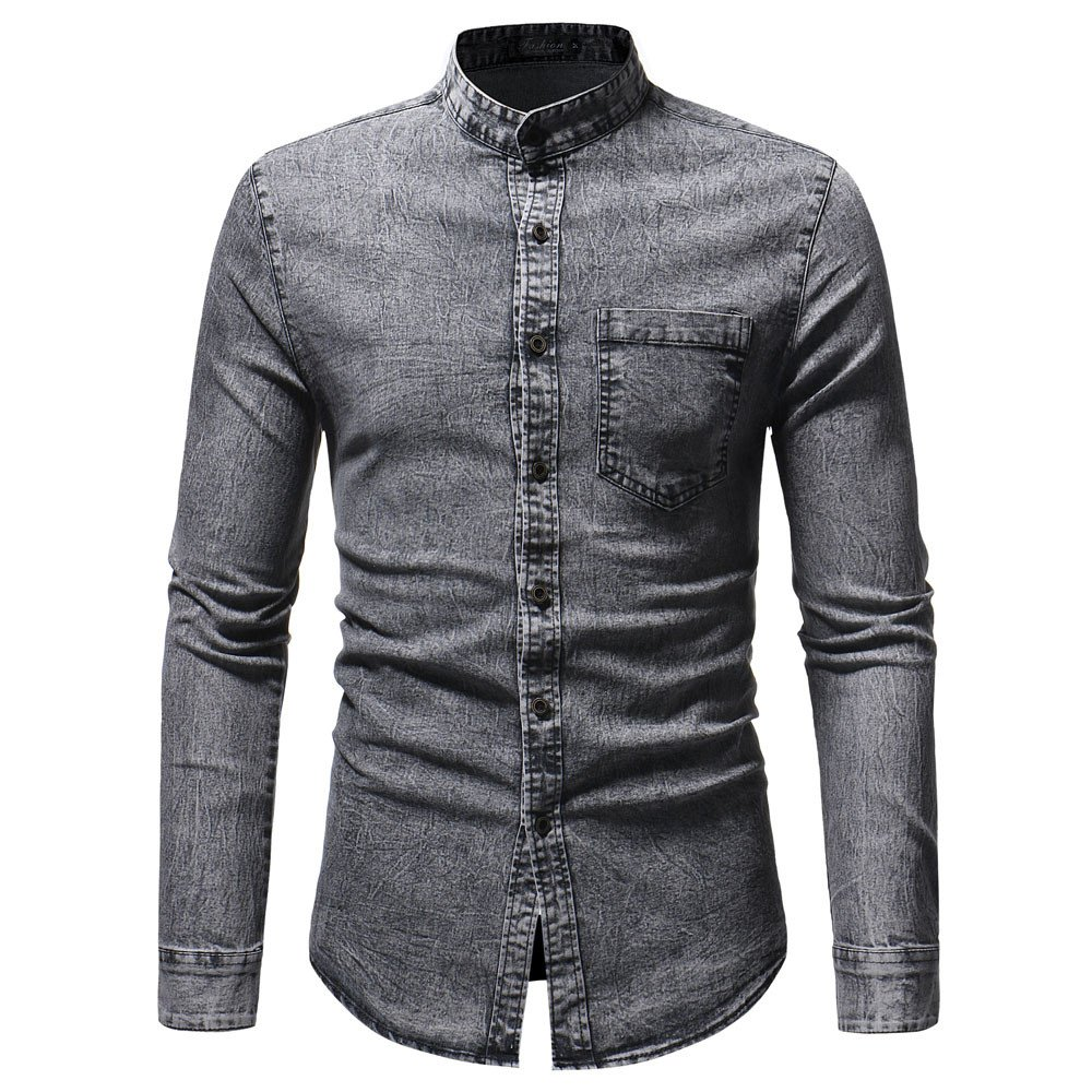 camicieBeikoard Camicetta Top in T-Shirt a Maniche Lunghe in Denim Solido Vintage Effetto Invecchiato Autunno Inverno da Uomo