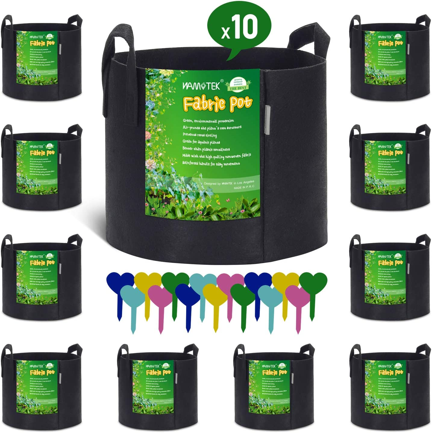 NAMOTEK 10-Pack 5 Gallon Grow Bags for Potato or Plant Container, Thickened Nonwoven Aeration Fabric Pot Plant Grow Bags with Handled