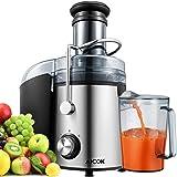 Aicok Centrifuga Frutta e Verdura 800W Estrattore di Succo, 75mm centrifuga a bocca larga, Con Juice Jug e Spazzola di Pulizia per frutta e verdura Estrattore, Acciaio Inox