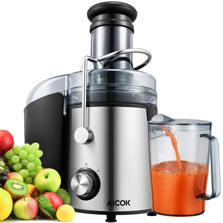 Licuadora Para Verduras y Frutas, Aicok Boca Ancha de 75MM Extractor de Zumos Exprimidor Centrífugo