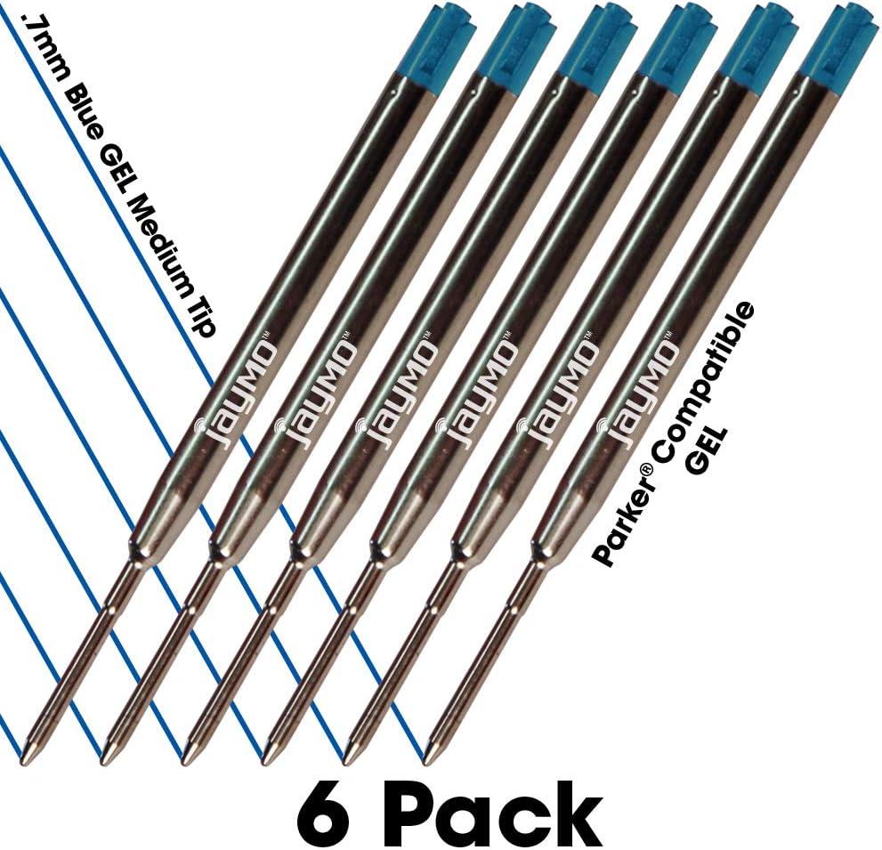 Jaymo - 6 - Reemplazo de tinta de gel para bolígrafos, compatible con Parker, Escritura fluida en tinta alemana y punta mediana 0,7mm, azul