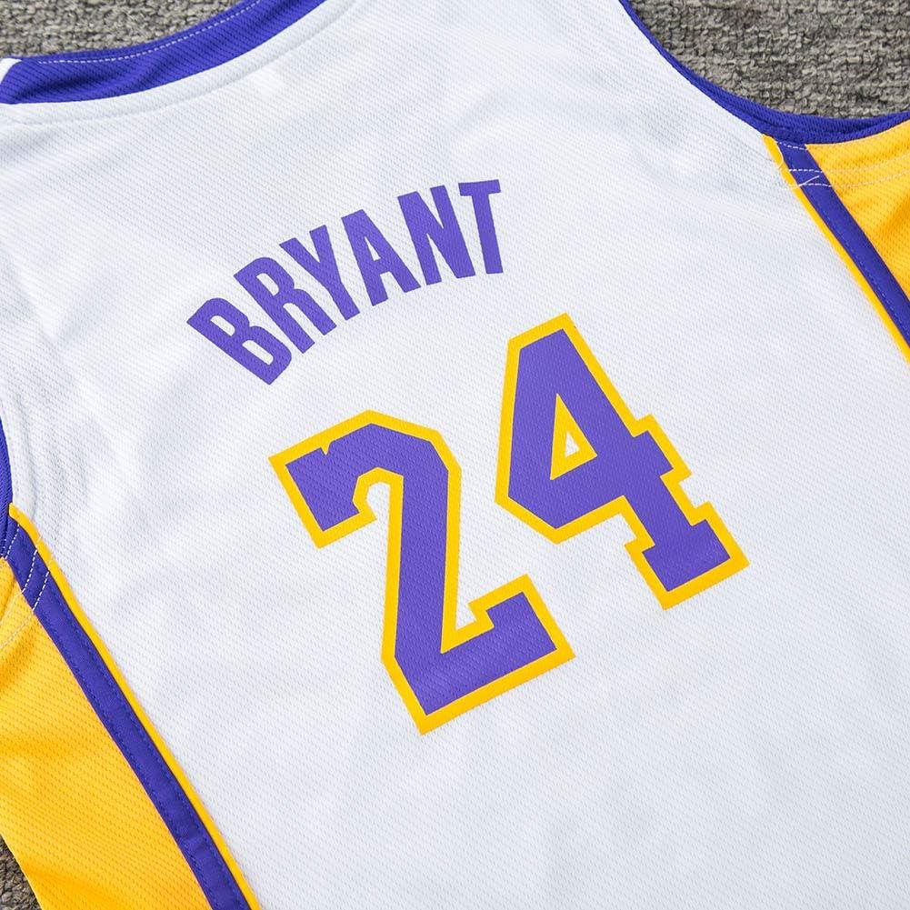 24 Kobe Bryant Ricamata da Basket per Bambini Mimiga Tuta Sportiva per Divisa da Basket No