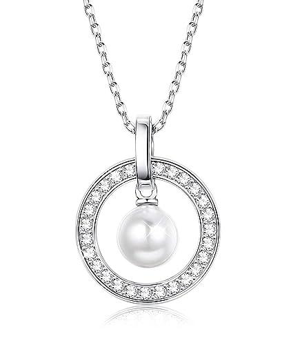 a6123390dfc7 Besteel Plata de Ley Collar Perla para Mujer Madre Colgante Elegante Collar  con Circonita