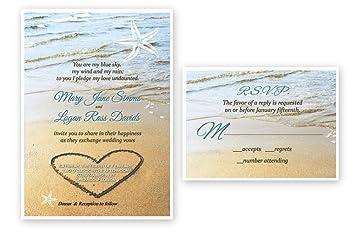 Beach Sand Starfish Wedding Invitations U0026 Response Cards Bridal Custom