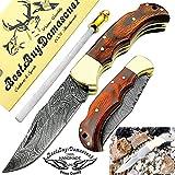 Pocket Knife Red Wood 6.5'' Damascus Steel Knife
