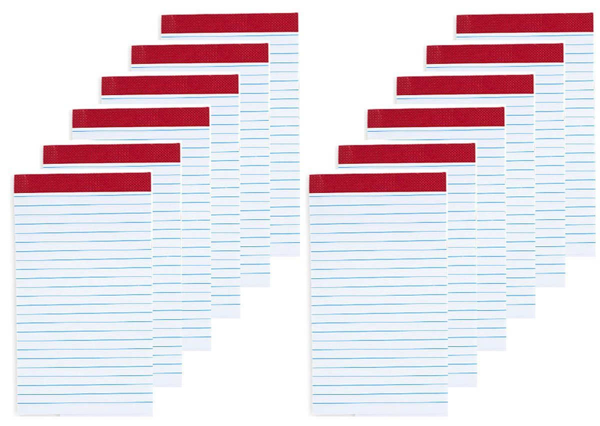 """Mead Ruled Memo Pads, 2 7/16"""" x 4 1/4, White, 40 Sheets per Pad, 2 Pads per Pack, Pack Of 6 = 12 Pads"""