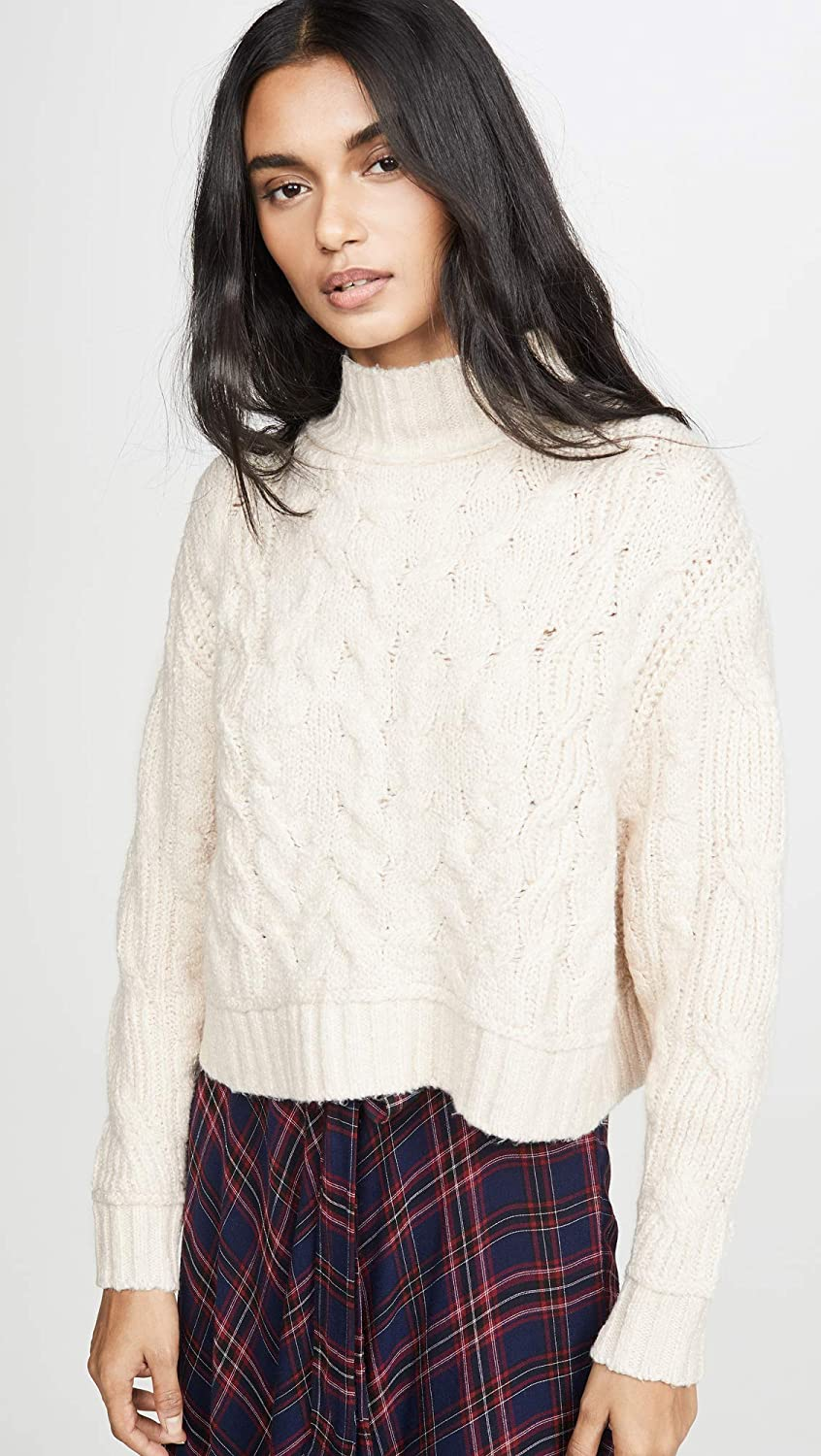 Free People Womens Cable Knit Cropped Sweater