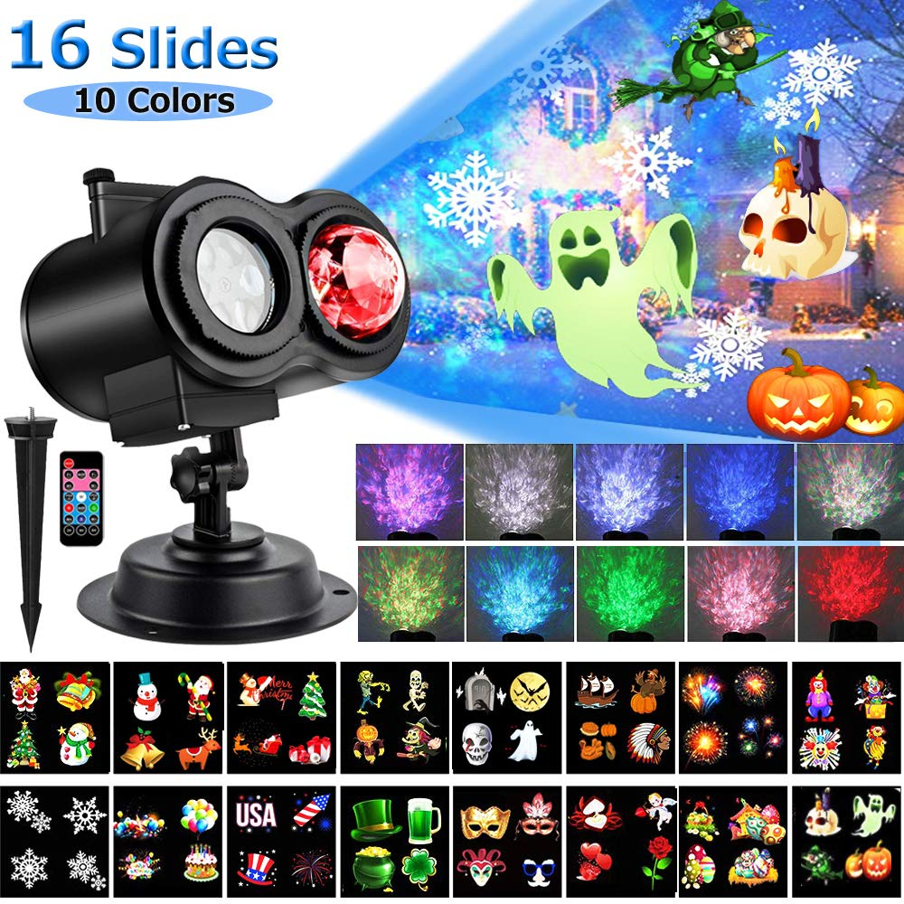 LED Christmas Projector Lights, Yokgrass 2-in-1 Ocean Wave Projector Light with 16 Slides Patterns 10 Colors Waterproof Outdoor Indoor Holiday for Halloween Xmas Birthday Party Landscape Decorations by Yokgrass