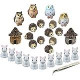 Miniature Garden Ornaments,Fashionclubs 24pcs Miniature Ornaments Kit Set Fairy Garden Figurines Accessories for DIY…