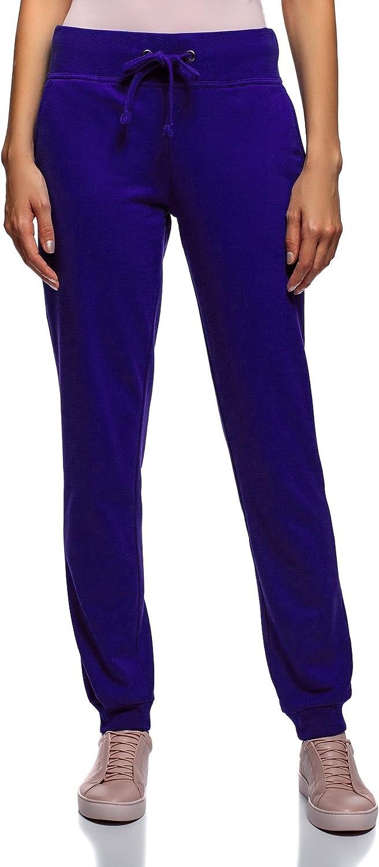 oodji Ultra Mujer Pantalones de Punto Deportivos, Azul, ES 34 ...