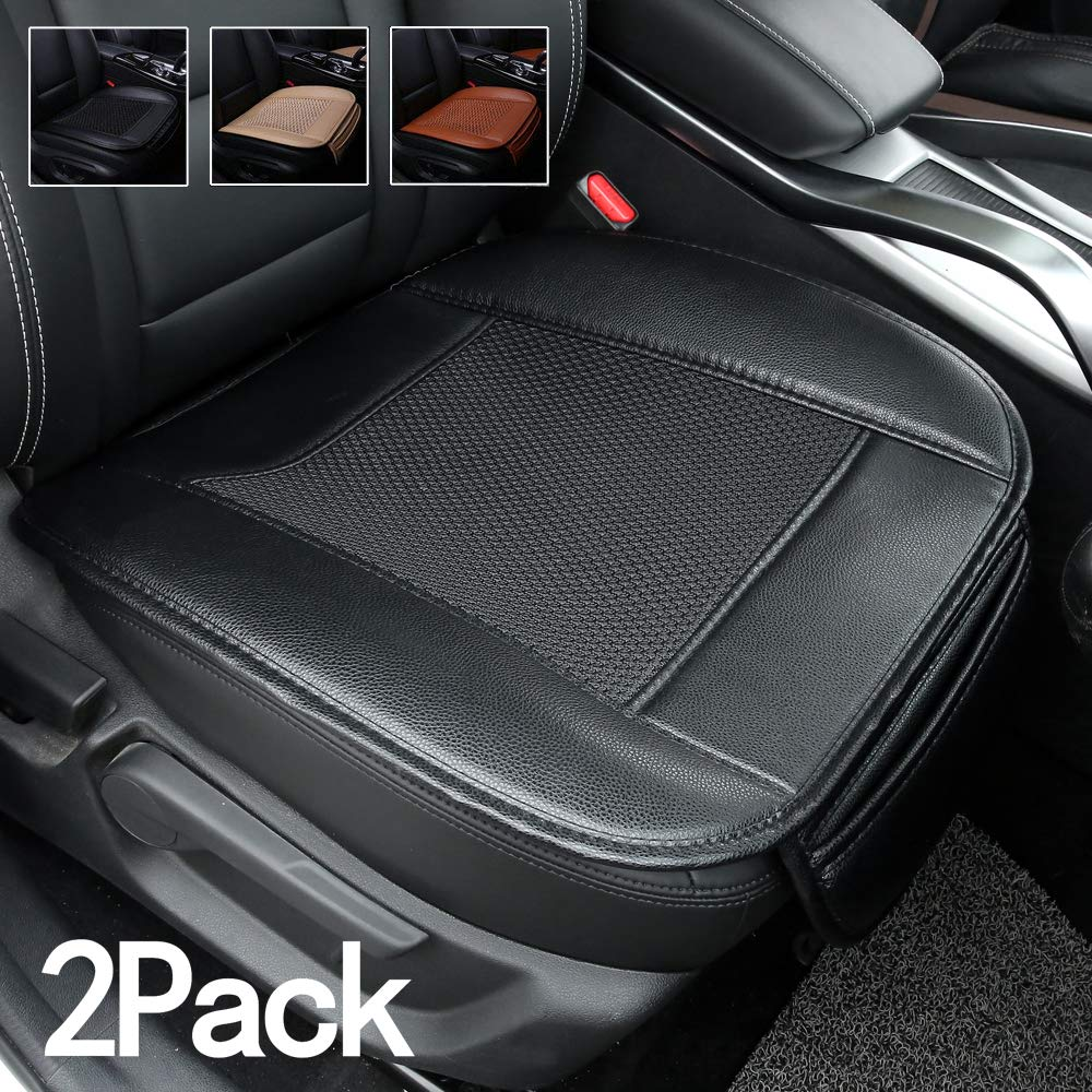 Suninbox Car Seat Covers,2 Pack Universal Auto Seat Covers,Ice Silk Auto Seat Cushion Protector Pad Mat[Carbonized Leather] Bottom Seat Covers(Black 2PC Front Seat)