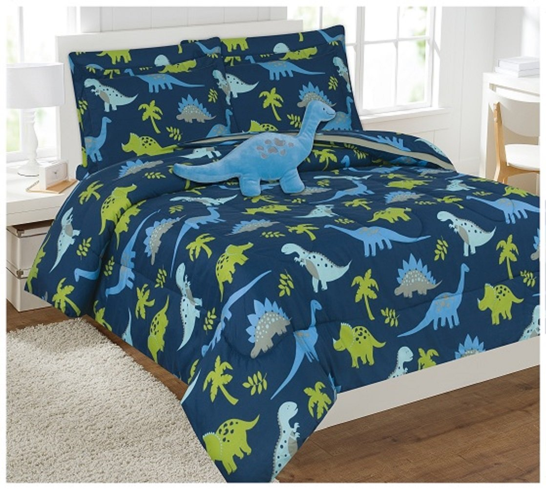 WPM 8 Piece FULL Comforter Set Kids/Teens Dinosaur Blue animal jungle print Design Luxury Bed In a Bag Furry Decorative TOY Pillow Included (Full comforter set)