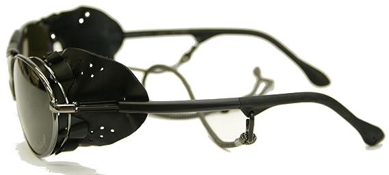 Cébé Cecchinel Gafas de sol - Gris Oscuro, Cuero Negro Protección Lateral (extraíble) - tamaño de la lente 56 mm, categoría 4 tinte gris, lentes de ...