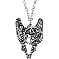 ITS - Supernatural Pentagram Angel Wing Pendant Silver Chain Necklace.