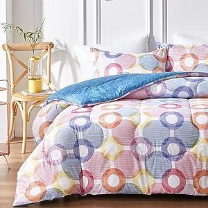 Uozzi Bedding Twin Comforter Set with Colorful Circles Red Yellow Navy Purple, 100% Microfiber Hypoallergenic Duvet Insert 68x88 Kids Bedding Set