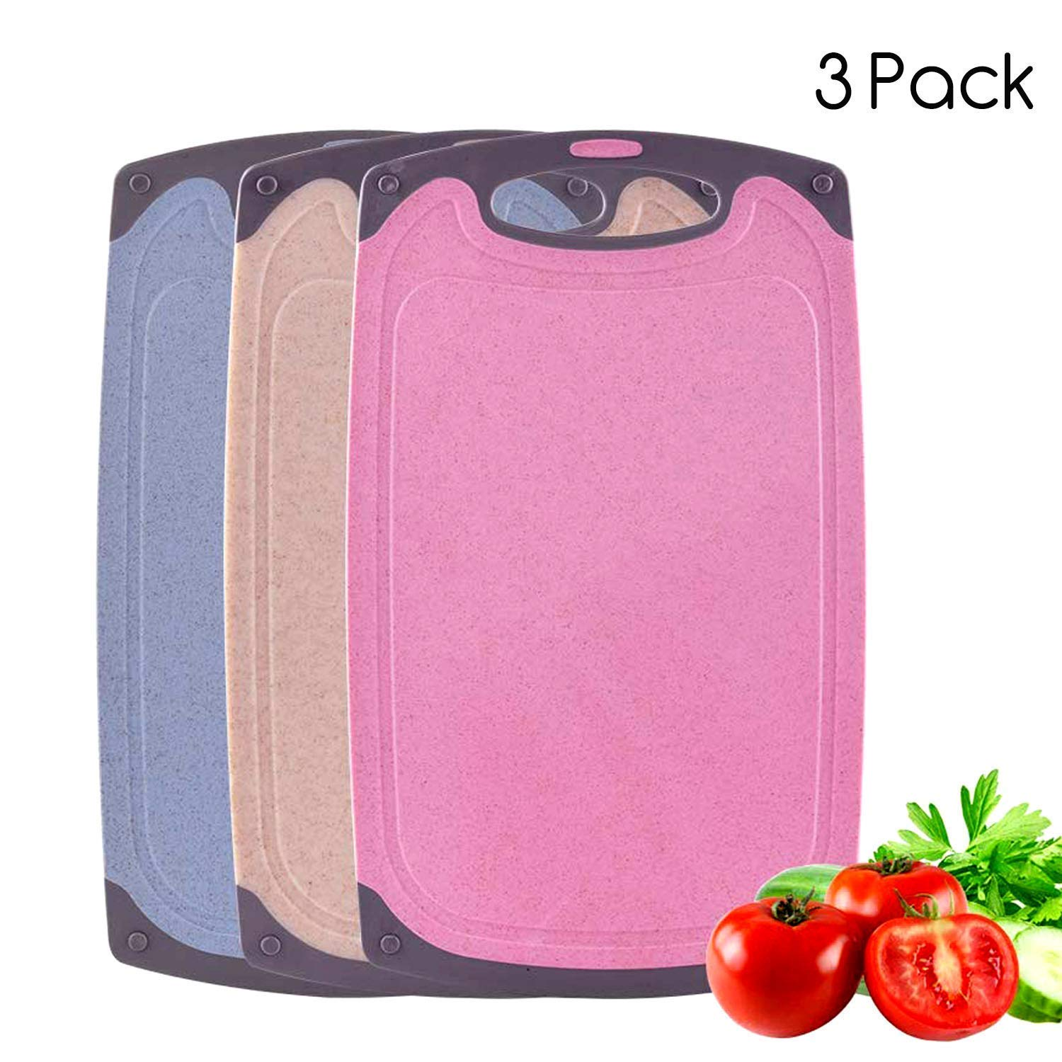 Cutting Boards Set,3-Pieces Plastic Chopping Board BPA Free,Large and Thick Kitchen Cutting Board with Non-Slip Feet and Juice Grooves,Dishwasher Safe-(Pink, Blue, Beige)