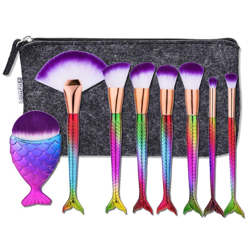 Cinidy Mermaid Makeup Brush Set Beauty Tools Powder Foundation Blush Concealer Eyeliner Eyeshadow Contours Brush + Professional Fishtail Bottom Blush Brush(Black Case Bag)