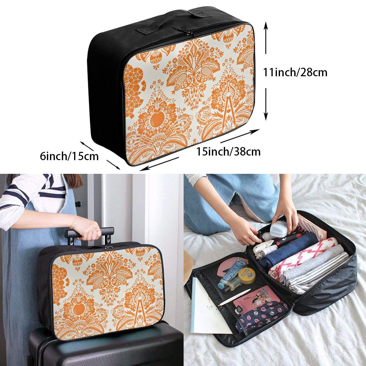 Travel Luggage Duffle Bag Lightweight Portable Handbag Orange Retro Floral Pattern Large Capacity Waterproof Foldable Storage Tote