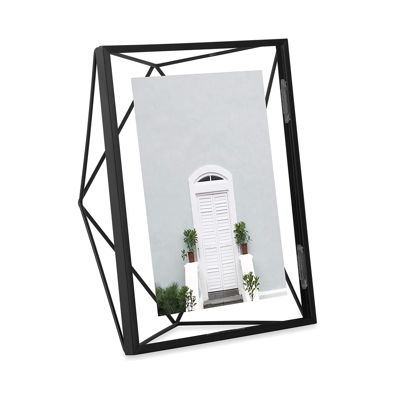Umbra Prisma 4 x 4 Picture Frame – Floating Wall or Desk Photo Display for Pictures, Art, Illustrations, Graphic Text & More, Metal, Black 313017-040