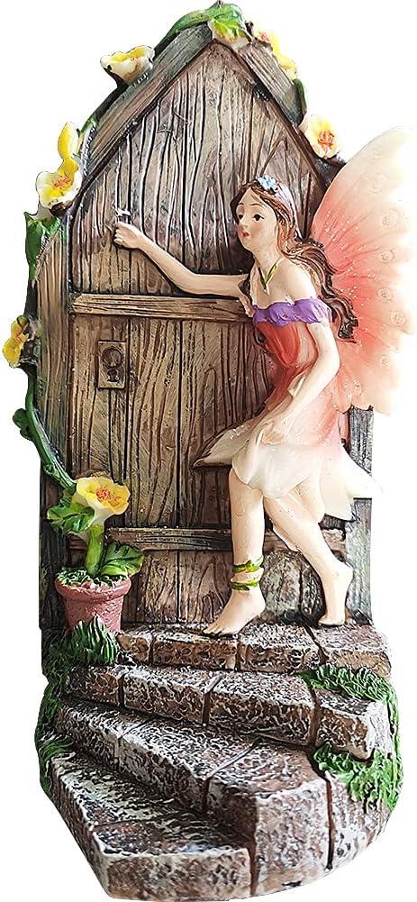 Fairy Garden Doors with Fairies Fairy Doors for Trees Outdoor Miniature Doors Enchanted Fairies Door Whimsical Home Decor Statue Tree Decorations Yard Art