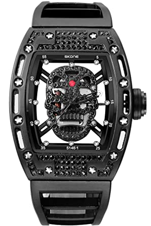 Skone Steampunk Skeleton Pirate Watch Men Skull Hollow Diamond Designer Cool Unique Fashion Style Quartz Wristwatch