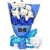 YOBANSA ソープフラワー 石鹸 花 バラ 造花 花束くま束 ベア ブーケ 可愛いぬいぐるみ (ベア6匹,花5匹) 父の日 誕生日 結婚祝い 結婚記念日のプレゼントにお勧め (青)