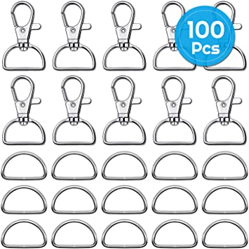 "1"" Paxcoo 60Pcs Swivel Snap Hooks and D Rings for Lanyard and Sewing Projects"