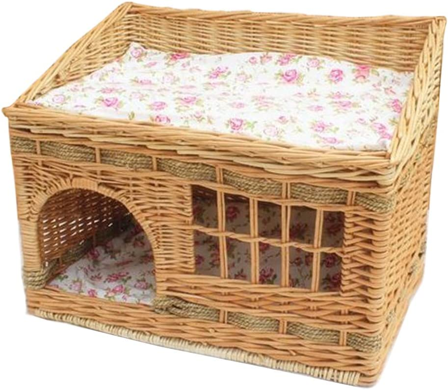 Layboo Handmade Square 2 Level Rattan Wicker Pet Small Dog Cat Rabbit Cat Delivery Room House Tent with Cushion