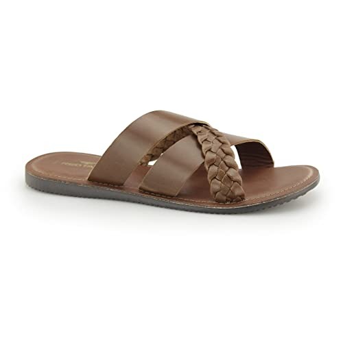 70aa614c7728 Red Tape Spa Mens Leather Mule Cross Strap Sandals Tan UK 9  Amazon ...