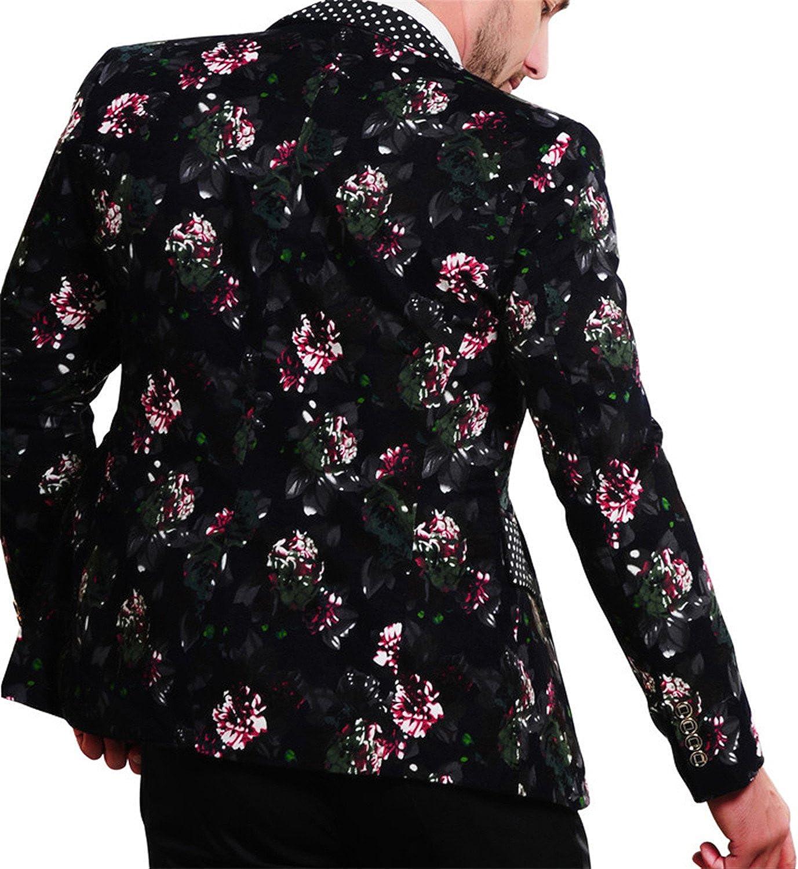 Susan1999 Mens Cotton Flower Print Blazers Large Size Slim Fit Blazer Pink XL