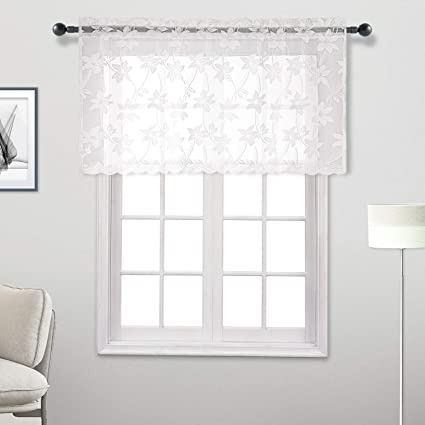 DWCN White Lace Sheer Valance Curtain - Floral Voile Curtain Valances for  Kitchen and Bedroom, Small Window Valance 52 x 26 inch Length, 1 Panel